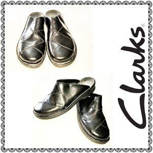 {Clarks} black leather mules/clogs, sz 9